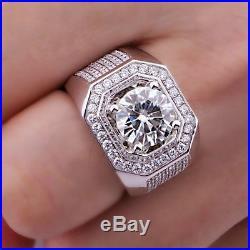 Round Sim. Diamond White Gold Finish 925 Silver Men Vintage Jewelry Wedding Ring
