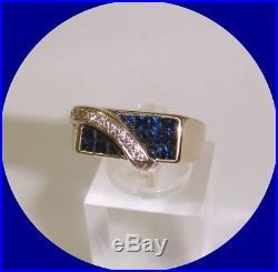 Sharp Vintage Men's 18k White Gold Sapphire & Diamond Ring- Size 8