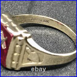 Solid 10K Rose Gold Masonic Freemason Ruby Arrow Bell Vintage Men's Ring Size 13