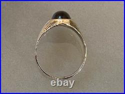 Solid 14k Gold & Natural Garnet Cabohon Antique Ring Mens / Unisex Size 8.5