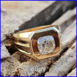 Solitaire Engagement & Wedding Men's Ring 14k Yellow Gold Plated 2.14ct Diamond