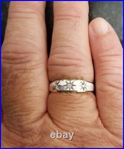 Starburst Design With Diamonds 14k Mens Wedding Band Style Vintage Ring Size 12