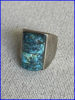 Sterling Silver TURQUOISE Square Navajo Mens Ring Vintage 9.5
