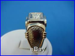 Striking 14k Gold Vintage High End 0.55 Ct Diamond Men's Ring, 10.7 Gr, Size 12
