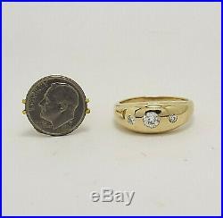 Stunning Estate Men's Vintage Diamond Ring, 14 k yellow gold, size 12, 3 Stone