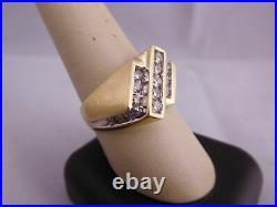 Super Vintage 14k Solid Yellow Gold Diamond Stone Men's Ring