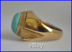 Superb 14 Kt Gold Vintage Persian Blue Turquoise Size 11 1/2 Men's Ring 11 Grams