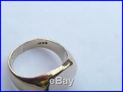 Superb Mens Vintage 9ct Gold Heavy Signet Pinky Ring Size O 17.58mm 11.2 Grams