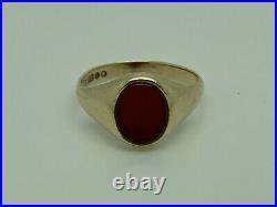 Superb Vintage 1964 9ct Solid Gold Carnelian Signet Mens Ring Size P