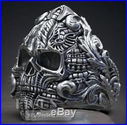 Unique Biomechanics Victorian Skull 925 Sterling Silver Vintage Men's Biker Ring