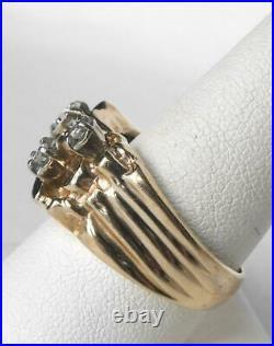 Unique Vintage 10k Gold Mens Diamond Nugget Freeform Ring Heavy 8.3g Size 9.75
