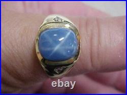 VINTAGEAWESOMEMENS BLUE STAR SAPPHIRE & DIAMOND RING 14K YELLOW GOLD sz11.5