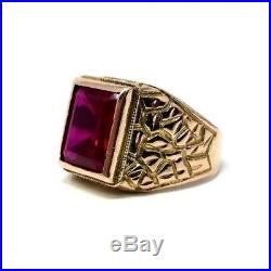 VINTAGE 10K GOLD Nugget Style Men's Emerald Cut RUBY RING Size 9.5 (7.2g)