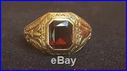 VINTAGE 10K GOLD RED GARNET MEN'S ART DECO RING EGYPTIAN REVIVAL GEMSTONE 8.89gr