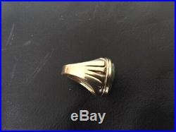 VINTAGE 10 k SOLID GOLD MEN'S JADE RING HEAVY 11.7 Grams