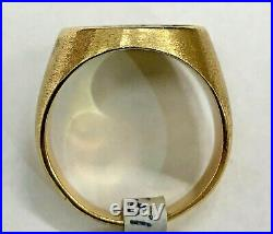 VINTAGE 14K GOLD DIAMOND initial A MENS RING SZ. 9 15.7g