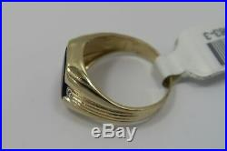 VINTAGE 14K Solid Gold Men's Large ONYX with DIAMOND Accent Shield Style Ring