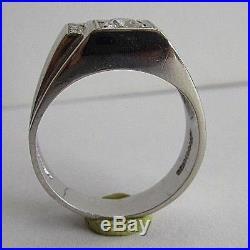 VINTAGE 14K W-G FIDELITY DIAMOND MEN'S RING With 0.70 ct ROUND DIAMOND SIZE 9 3/4