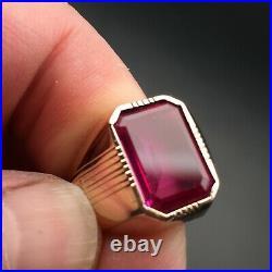 VINTAGE 14K YELLOW GOLD Ruby Men's Ring 14K Size 10