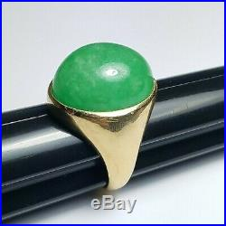 VINTAGE 20x17MM CABOCHON GREEN JADE 14K YELLOW GOLD MEN'S RING SIZE 9.5