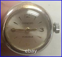 VINTAGE CRAWFORD 14K White Gold RING WATCH PINKIE RING