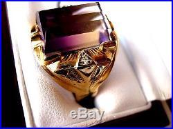 VINTAGE ESTATE 10K YELLOW GOLD MENS RING with NATURAL AMETRINE & DIAMONDS