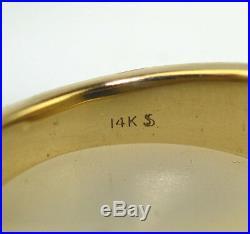 VINTAGE MENS 14K YELLOW GOLD 10 x 8.5 MM RECTANGLE LAPIS RING 12.2 GRAM SIZE 8.5