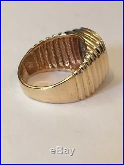 VINTAGE MENS 14k GOLD & DIAMOND RING SIZE 9