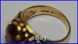 VINTAGE MENS KABANA RING NATURAL RUBY 4.50 CT SOLID STERLING / 14K GOLD Size 11