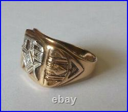 VINTAGE MEN'S MASONIC 3rd DEGREE RING, 10k SOLID GOLD, SIZE 10, WITH DIAMOND
