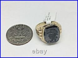 VINTAGE! Man's 10 Karat Yellow Solid Gold Hematite Ring, Circa 1960's, Size 9.25