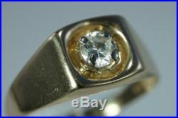 VINTAGE Men's 14K Yellow Gold. 60ct Solitaire DIAMOND Ring Size 12.5 ESTATE