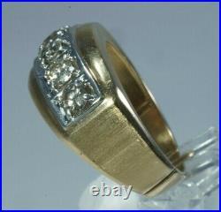 VINTAGE Men's 14K Yellow Gold. 85ctw NATURAL DIAMOND 5-Stone Ring, Size 10