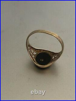 VINTAGE PLAYBOY 9ct GOLD ONYX SIGNET RING FRANKLIN MINT 1987 FREEPOST UK