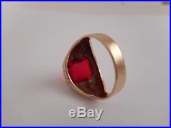 VTG Estate 10K Solid Yellow Gold Faceted Red Ruby Mens Signet Ring SZ 9.5 5.5 gr