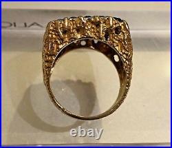VTG Men Square Cut natural Blue Sapphire Ring 14k Gold Size 8 gorgeous 15.8 gms