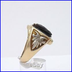 Victorian 10k Gold Carved Tiger Eye Double Roman Soldier Cameo Mens Ring 10gr