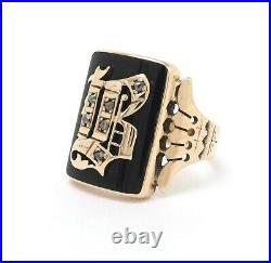 Victorian 14K Rose Gold Onyx Rose Cut Diamond Old English B Signet Mens Ring