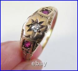 Victorian 14k Diamond Ruby Ladies Or Mens Ring Sz 10