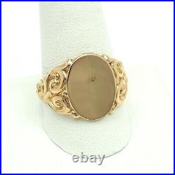 Victorian Gold Filled Initial Engravable Signet Mens Ring sz12