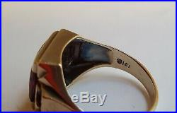 Vintage 10K Gold 1940s Mens Masonic Ruby + Arrow Ring NICE MOUNT Size 9 3/4