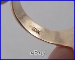 Vintage 10K Gold Carnelian Intaglio Warrior Ring Size 10.25 Antique Men's 9grams