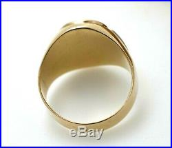 Vintage 10K Gold Masonic Mens Ring Blue Lodge With Red Stone Size 10