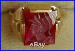 Vintage 10K Gold Men's Ring Red Ruby Intaglio Warrior Size 9-1/2
