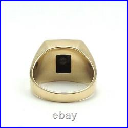Vintage 10K Gold Onyx Signet Letter Initial Mens Ring sz10