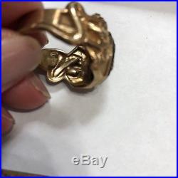 Vintage 10K Mans s Ornate Signet Withsnakes Black Onxy. SZ 11 9+g