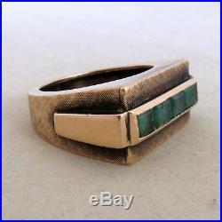 Vintage 10K Rose Gold Emerald Men's or Unisex Ring with 4 Emeralds (9.3g, size 8)