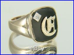 Vintage 10K Yellow Gold Black Onyx Diamond Initial C Men's Signet Ring Size 9.25
