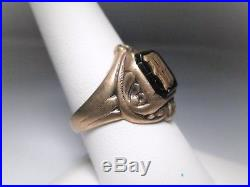 Vintage 10K Yellow Gold M Signet Mens Onyx Ring Signed Gothic Size 9.5 EM1060