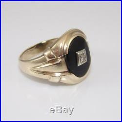 Vintage 10K Yellow Gold Men's Black Onyx Diamond Ring Size 10.5